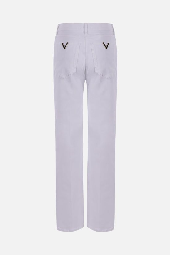 VALENTINO: V Gold stretch denim jeans Color White_2