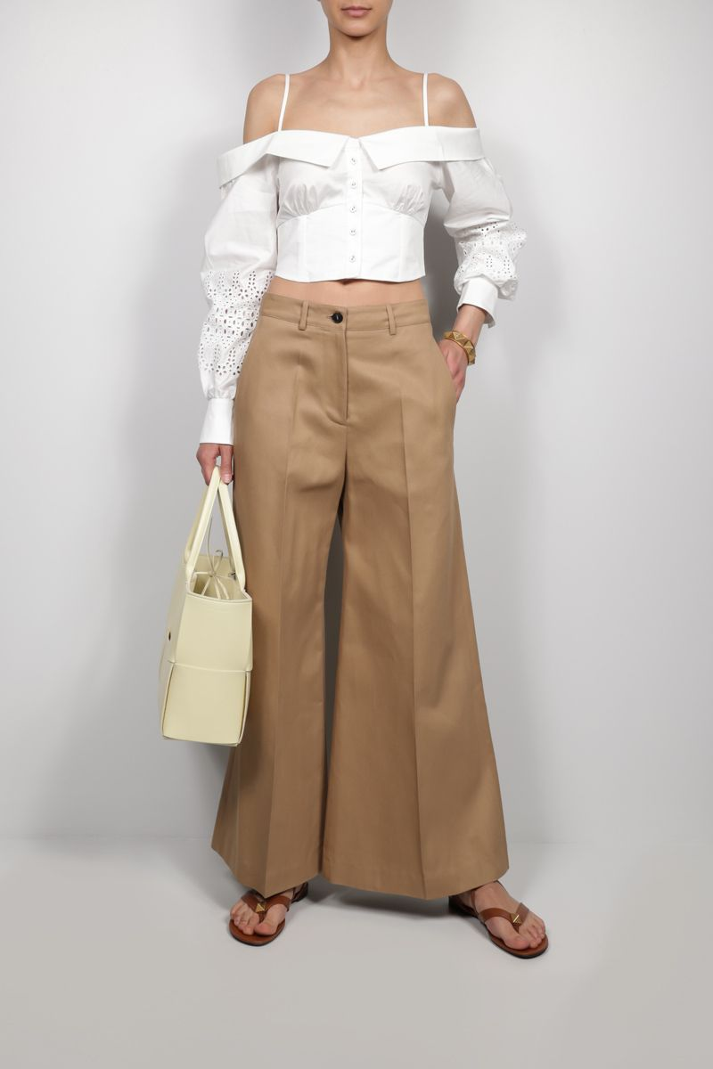 VALENTINO: Dry Gabardine wide-leg pants Color Neutral_2