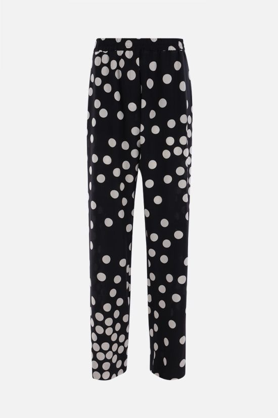 VALENTINO: Patchy Small Dots print crepe de chine pants Color Black_1