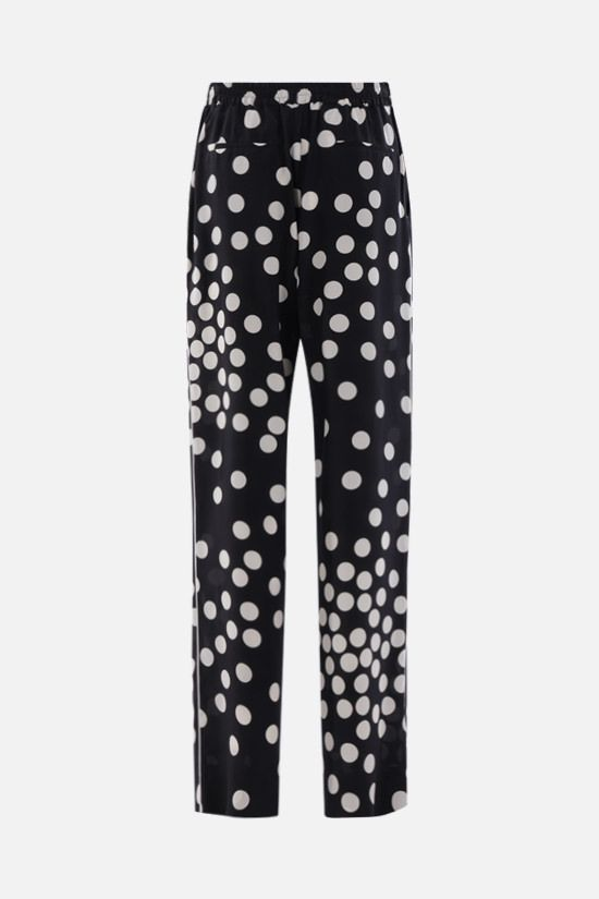 VALENTINO: Patchy Small Dots print crepe de chine pants Color Black_2