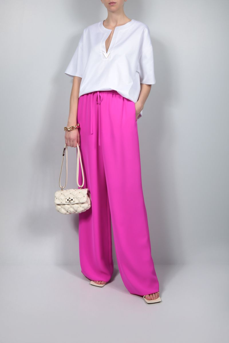 VALENTINO: cady wide-leg pants Color Purple_2