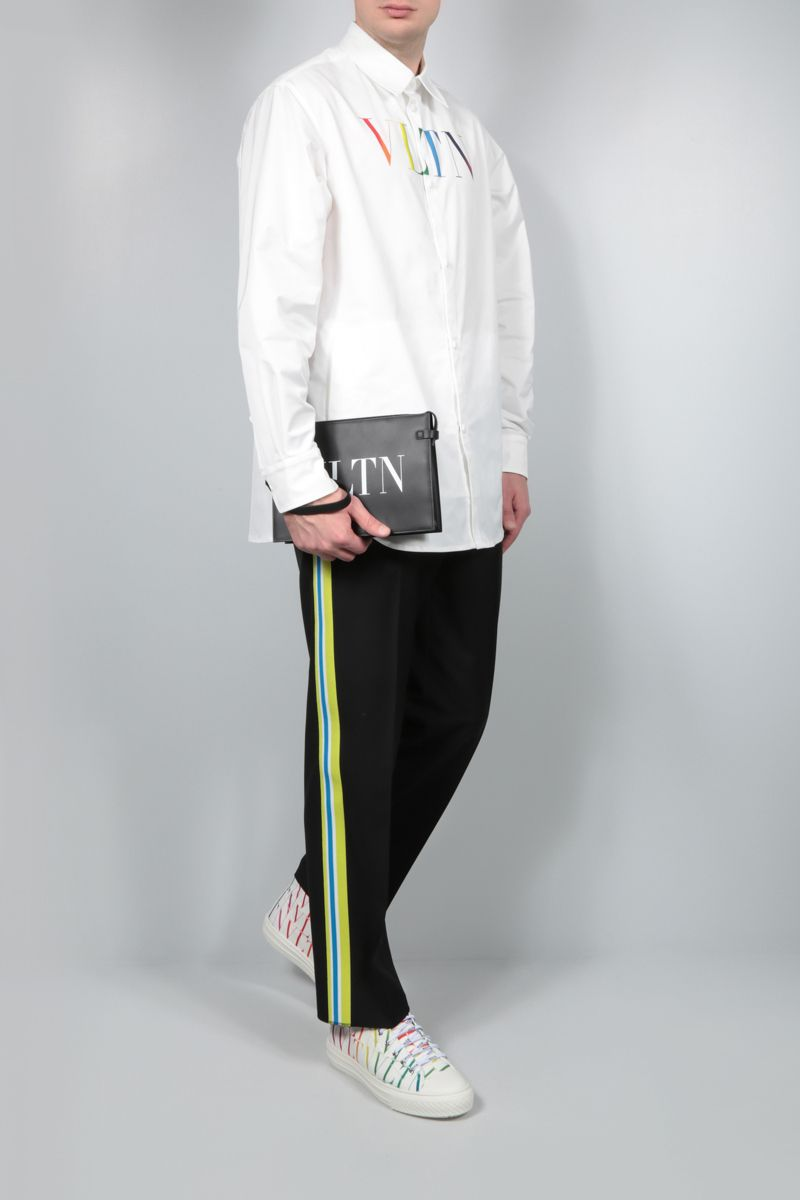 VALENTINO: wool mohair blend pants with contrasting bands Color Multicolor_2