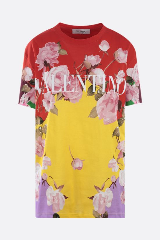 VALENTINO: Flying Flowers print oversize cotton t-shirt Color Multicolor_1