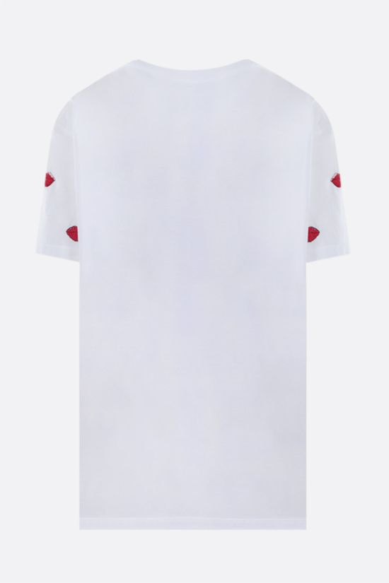 VALENTINO: Le Rouge embroidered cotton t-shirt Color White_2