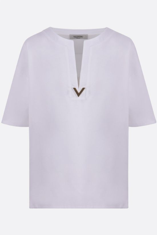 VALENTINO: V Gold oversize cotton t-shirt Color White_1