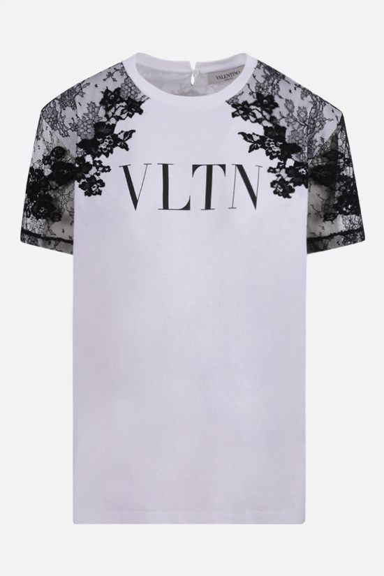 VALENTINO: VLTN print oversize cotton and lace t-shirt Color Grey_1