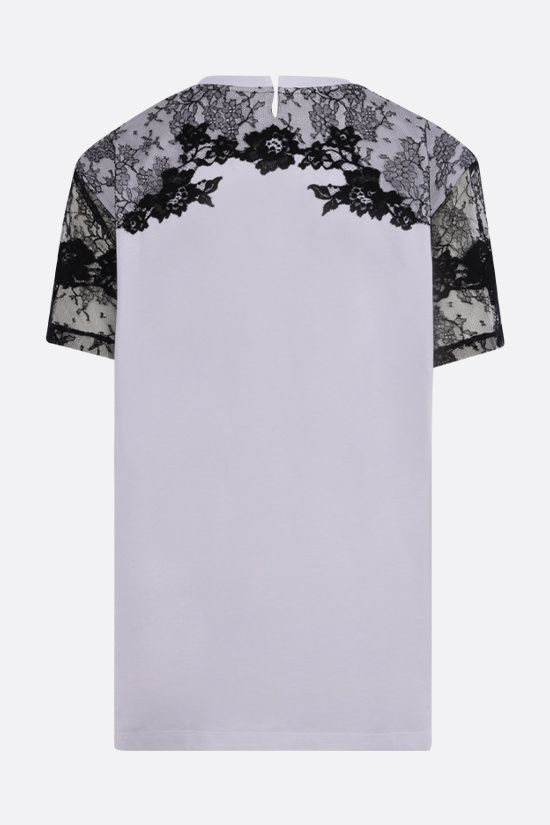 VALENTINO: VLTN print oversize cotton and lace t-shirt Color Grey_2