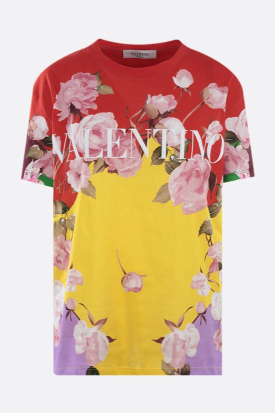 VALENTINO: Flying Flowers print cotton t-shirt Color Multicolor_1