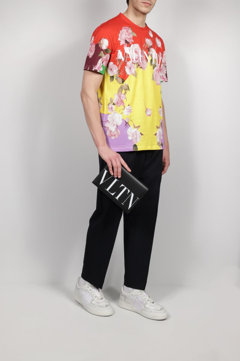 VALENTINO: Flying Flowers print cotton t-shirt Color Multicolor_2