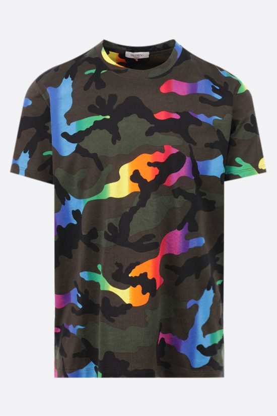 VALENTINO: Multicolor Camouflage print cotton t-shirt Color Multicolor_1