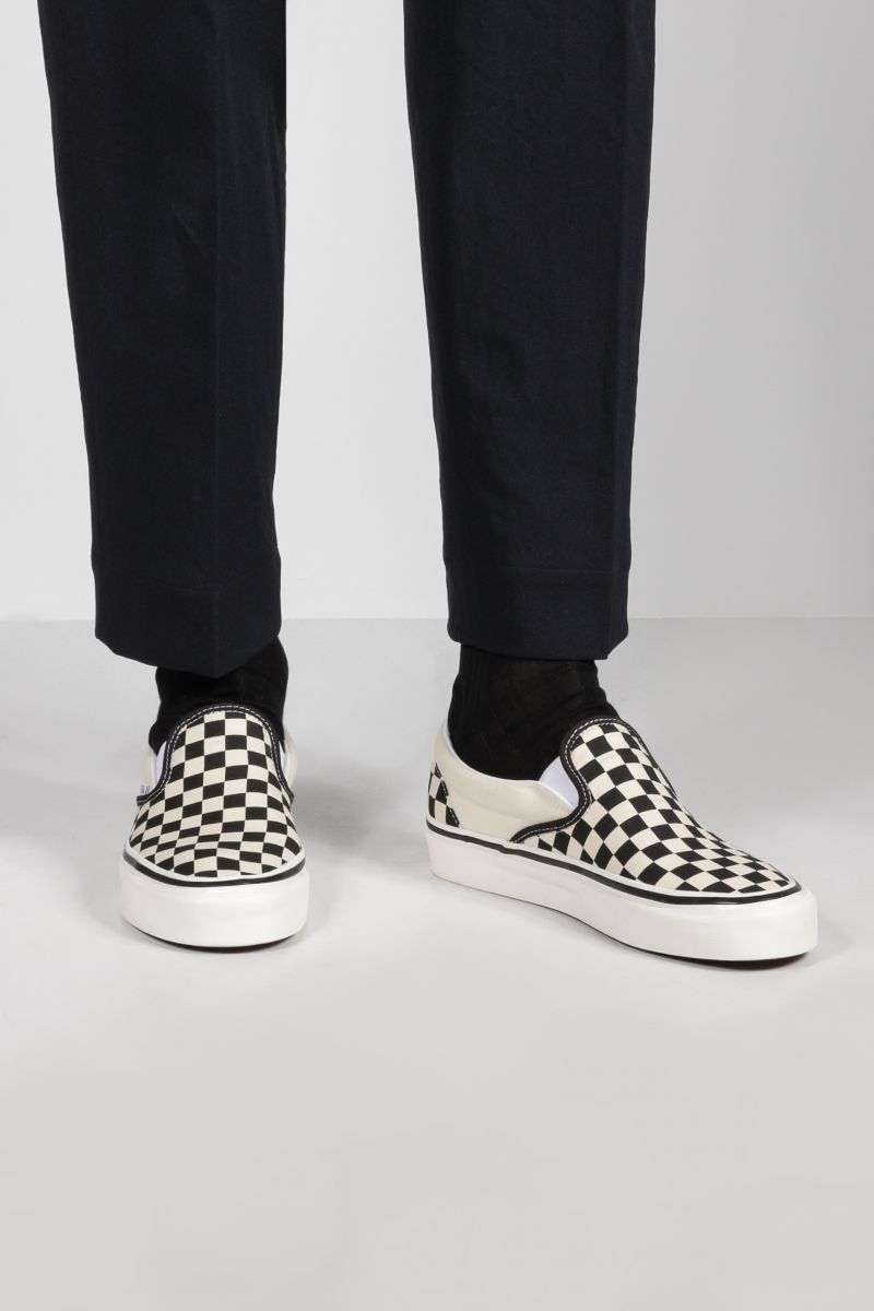 VANS: Classic Checkerboard canvas slip-on sneakers Color White_2