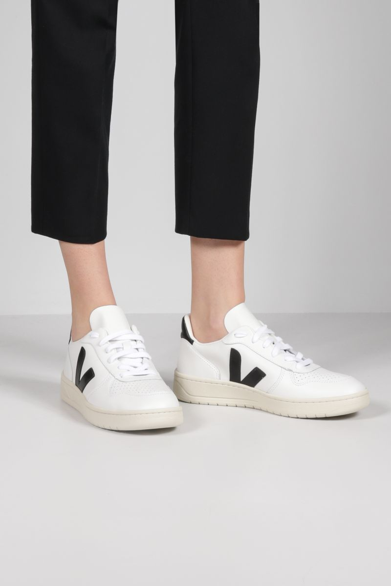 VEJA: V-10 smooth and perforated leather sneakers Color Grey_2