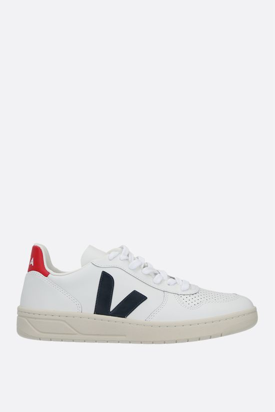 VEJA: V-10 smooth and perforated leather sneakers Color Multicolor_1