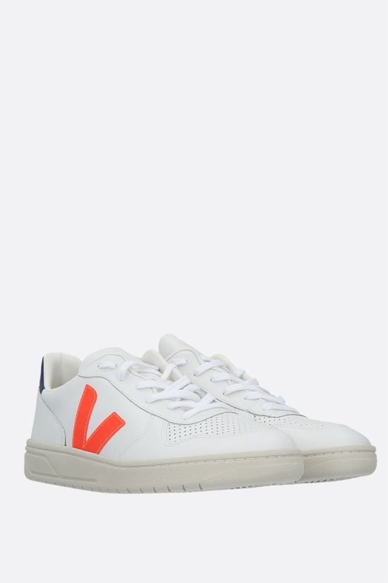 VEJA: V-10 smooth and perforated leather sneakers Color Multicolor_2