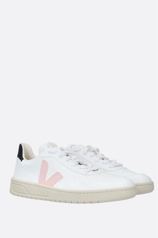 VEJA: V-10 grainy and perforated leather sneakers Color White_2