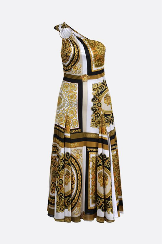 VERSACE: Barocco Mosaic print jersey one-shoulder dress Color Multicolor_1