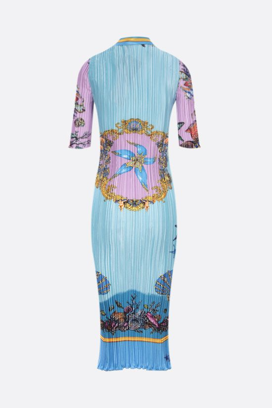 VERSACE: Trèsor de la Mer print pleated satin shirt dress Color Blue_2