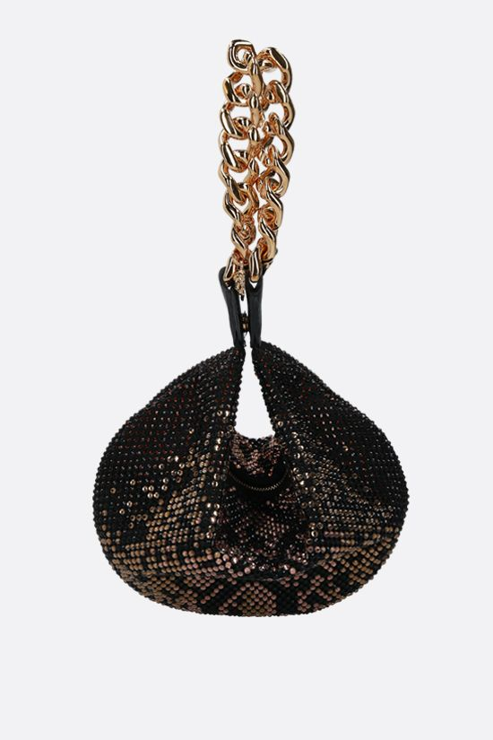 VERSACE: Medusa Chain crystal-embellished fabric shoulder bag Color Brown_1