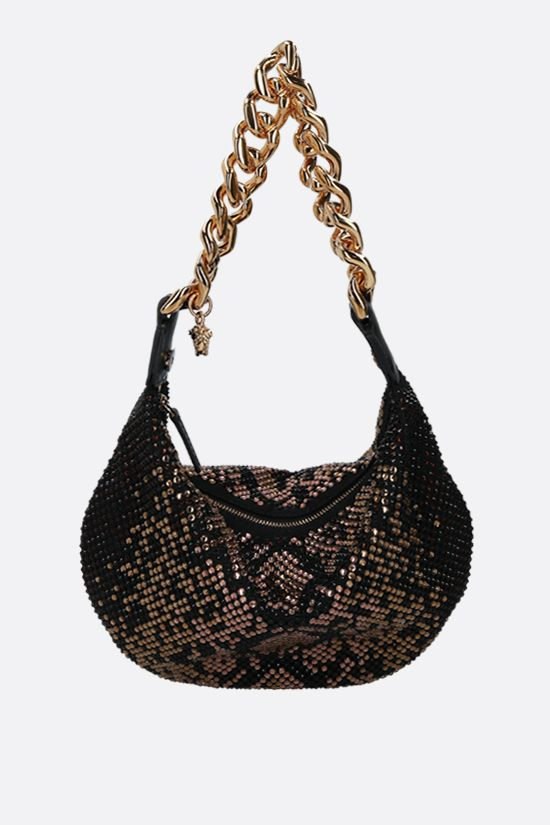 VERSACE: Medusa Chain crystal-embellished fabric shoulder bag Color Brown_2