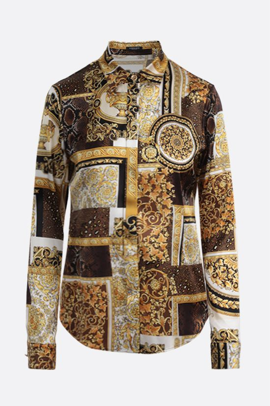 VERSACE: Barocco Patchwork print satin shirt Color Gold_1