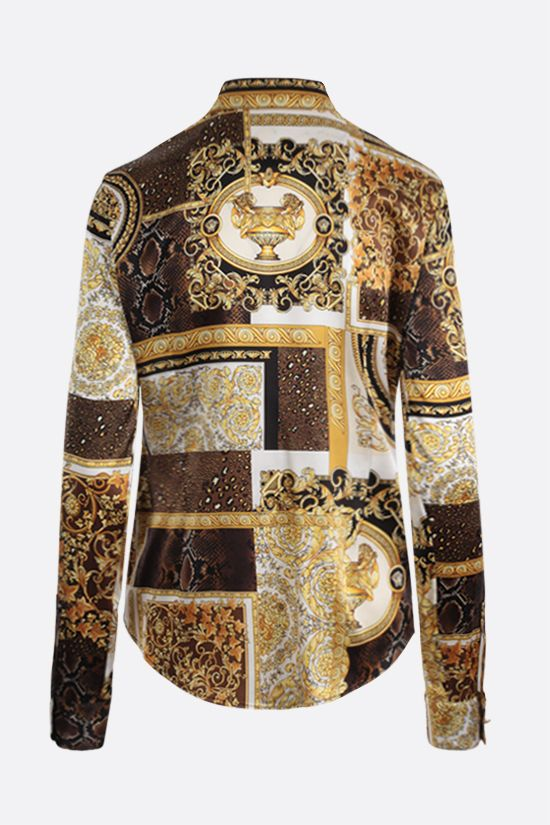 VERSACE: Barocco Patchwork print satin shirt Color Gold_2