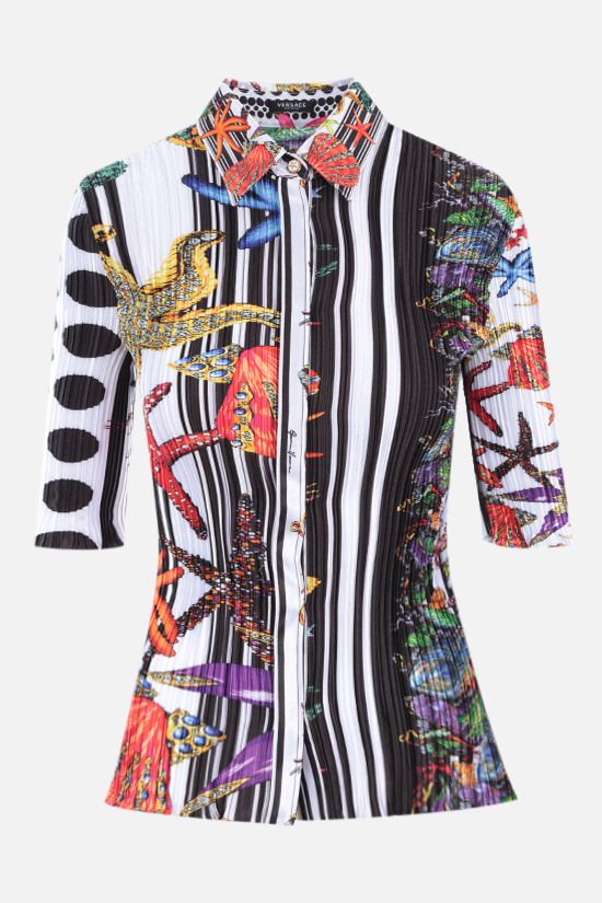 VERSACE: Trèsor Pinstripe print pleated satin shirt Color Multicolor_1