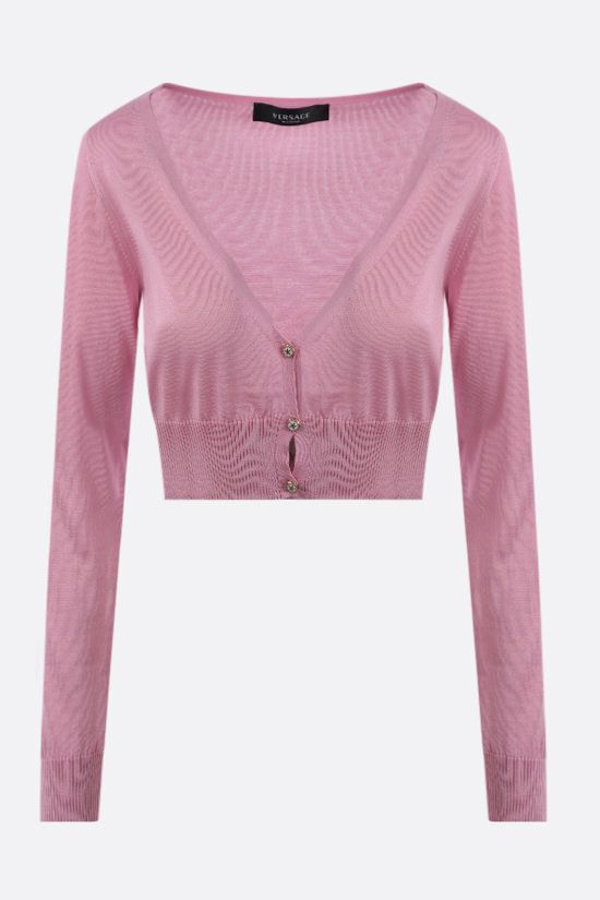 VERSACE: cardigan cropped in seta Colore Rosa_1