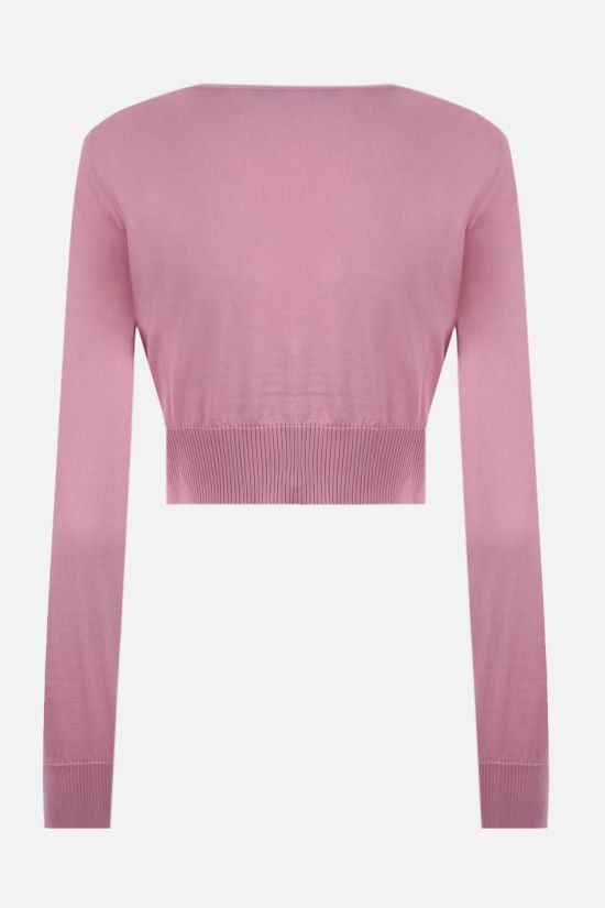VERSACE: cardigan cropped in seta Colore Rosa_2