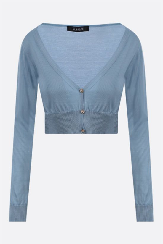 VERSACE: cardigan cropped in seta Colore Blu_1
