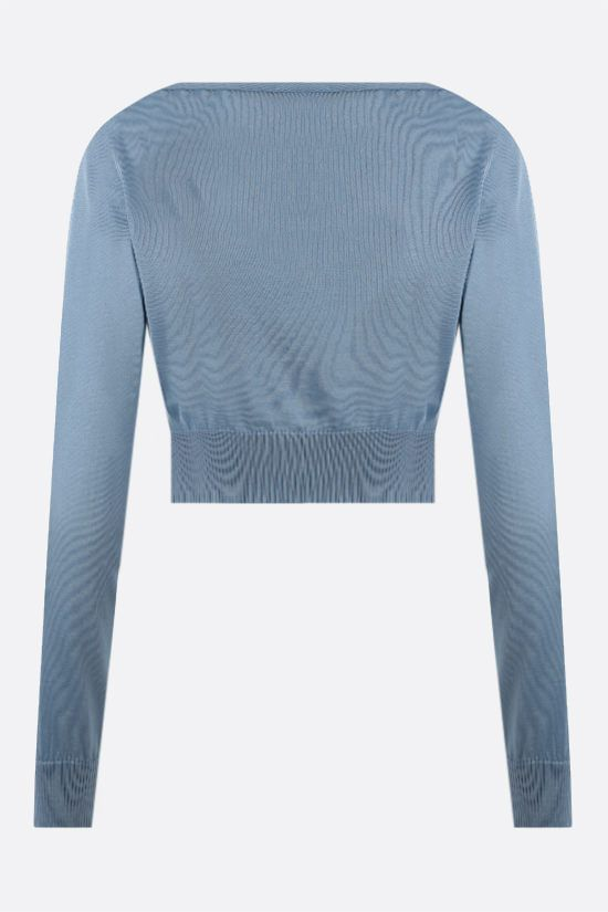 VERSACE: cardigan cropped in seta Colore Blu_2