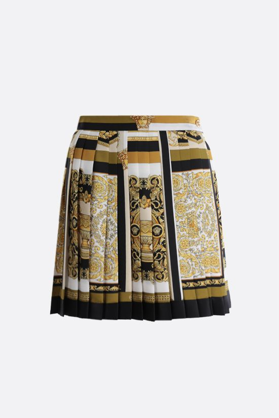 VERSACE: Barocco Mosaic print silk pleated miniskirt Color Multicolor_1