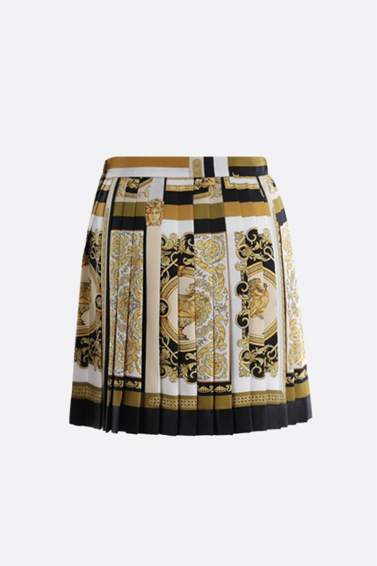 VERSACE: Barocco Mosaic print silk pleated miniskirt Color Multicolor_2