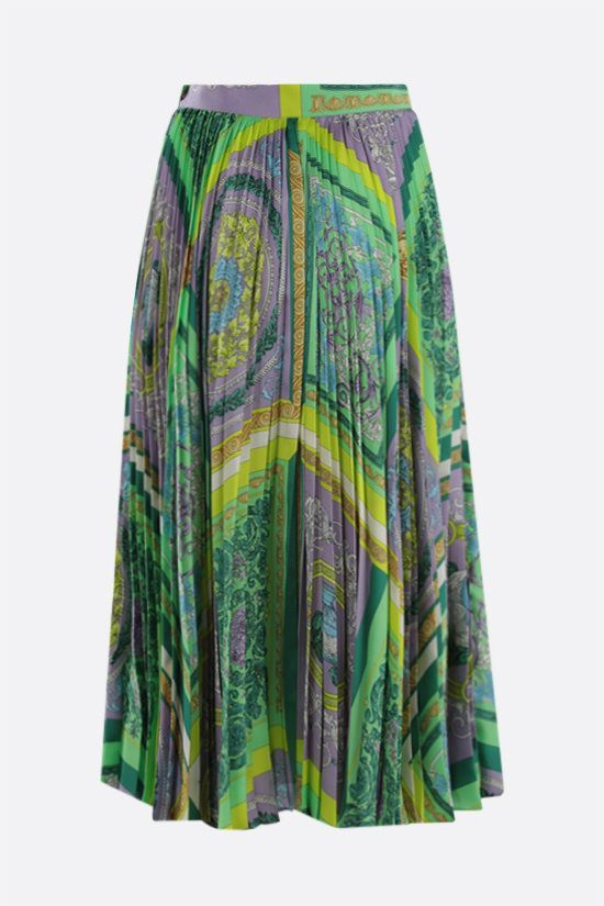 VERSACE: Barocco Mosaic print satin pleated skirt Color Purple_2