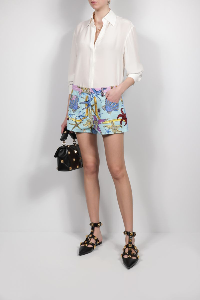 VERSACE: Trèsor de la Mer print stretch denim shorts Color Blue_2