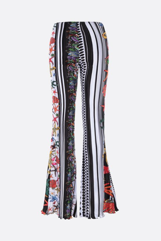 VERSACE: Trèsor Pinstripe print pleated satin flared pants Color Multicolor_2
