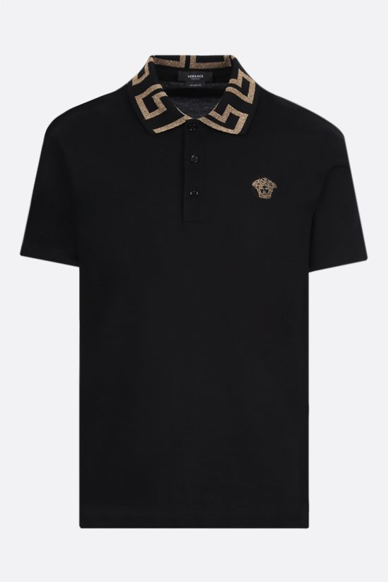 VERSACE: Greca-detailed cotton polo shirt Color Black_1