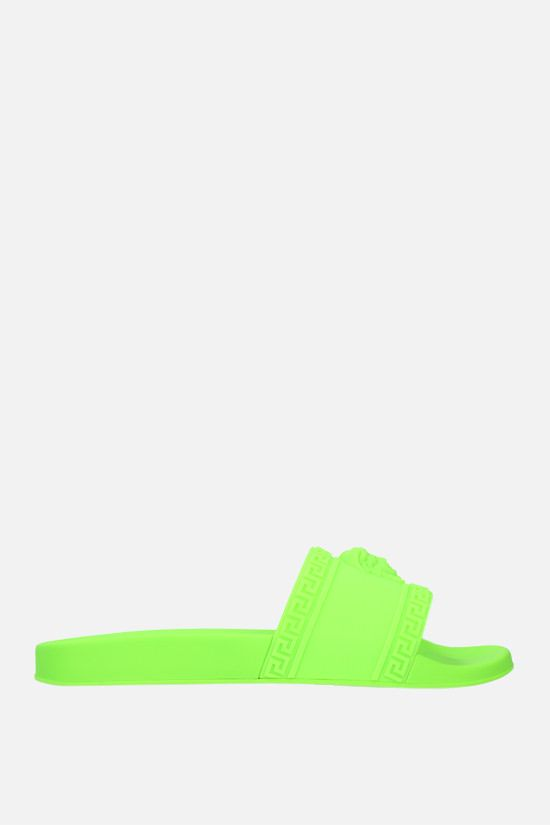 VERSACE: Palazzo rubber slide sandals Color Green_1