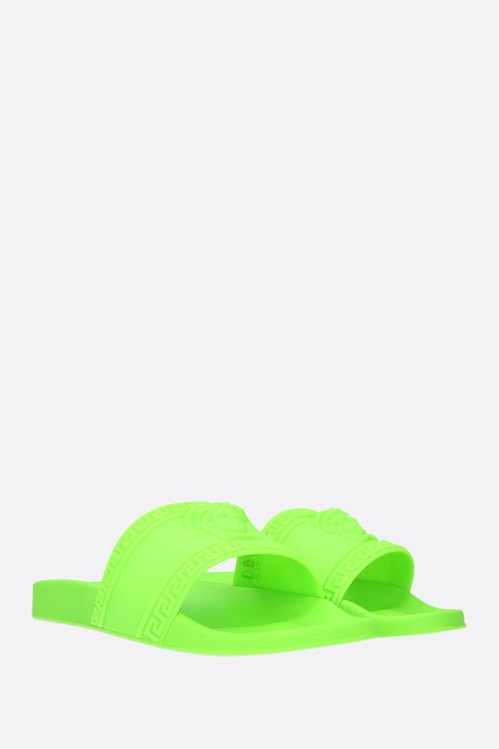 VERSACE: Palazzo rubber slide sandals Color Green_2