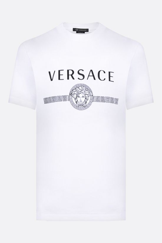 VERSACE: Medusa logo print cotton t-shirt Color White_1