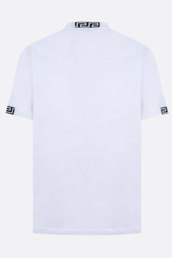 VERSACE: logo-embroidered cotton t-shirt Color White_2