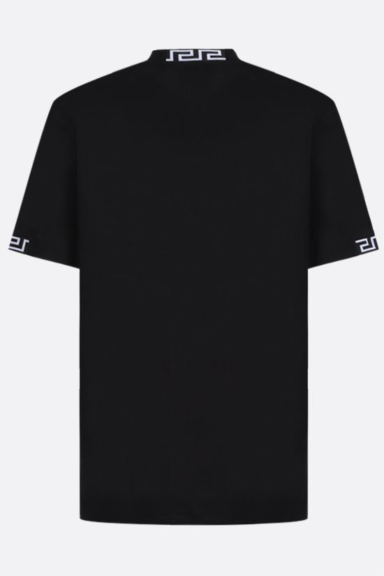 VERSACE: logo-embroidered cotton t-shirt Color Black_2