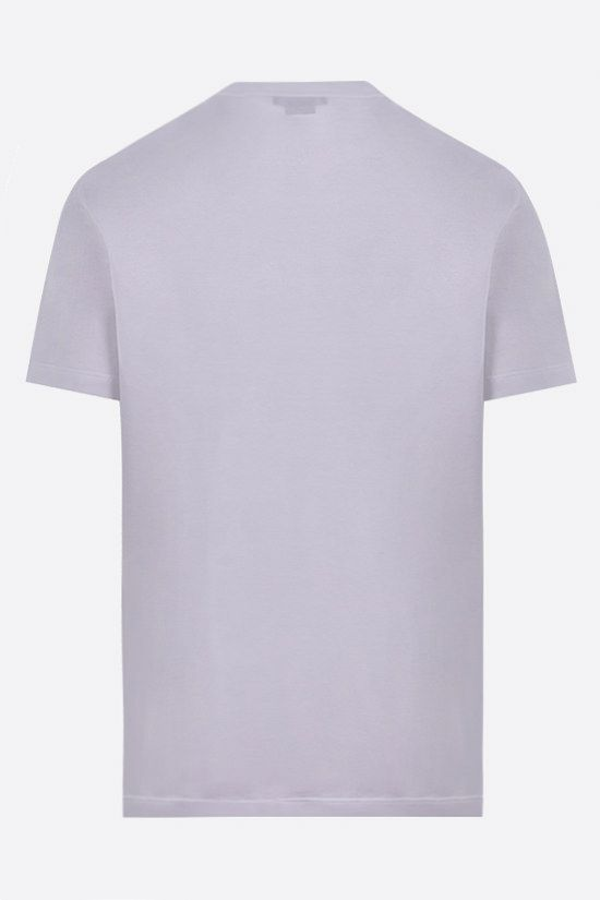 VERSACE: address logo print cotton t-shirt Color White_2