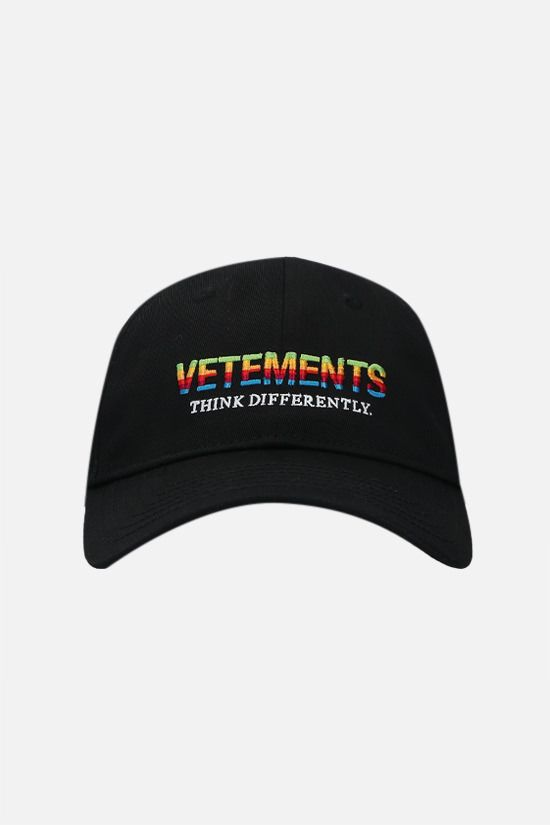 VETEMENTS: Think Differently cotton baseball cap Color Black_1