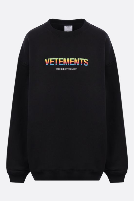 VETEMENTS: Think Differently oversize cotton blend sweatshirt Color Black_1