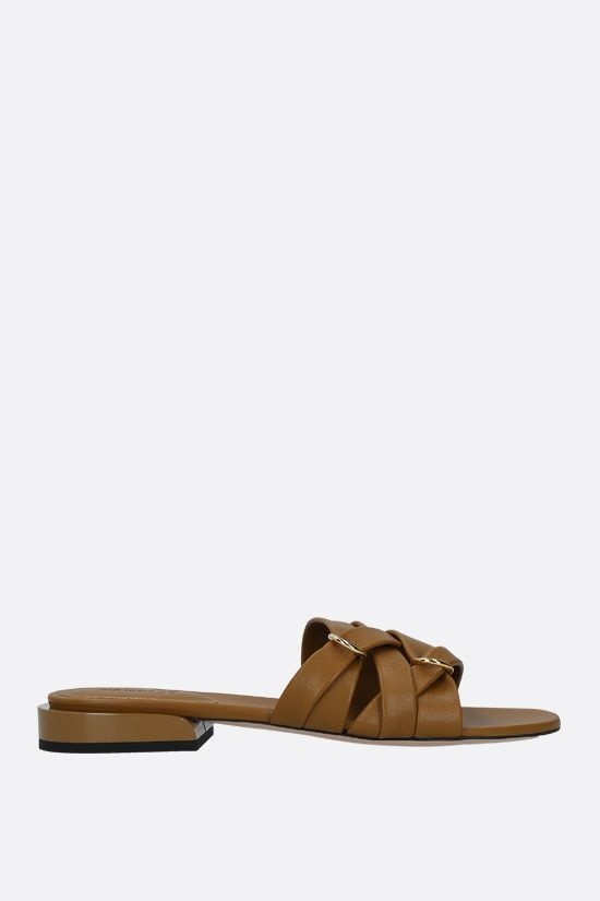 WANDLER: Lara nappa slide sandals Color Brown_1