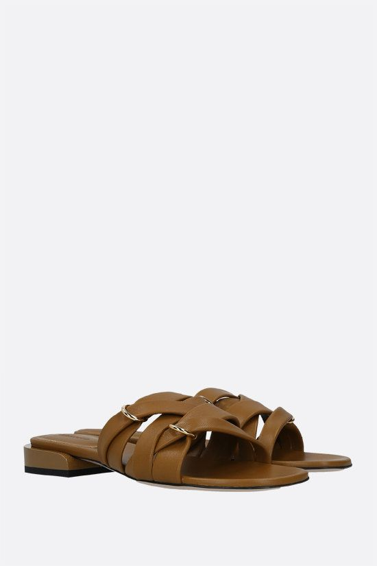 WANDLER: Lara nappa slide sandals Color Brown_2
