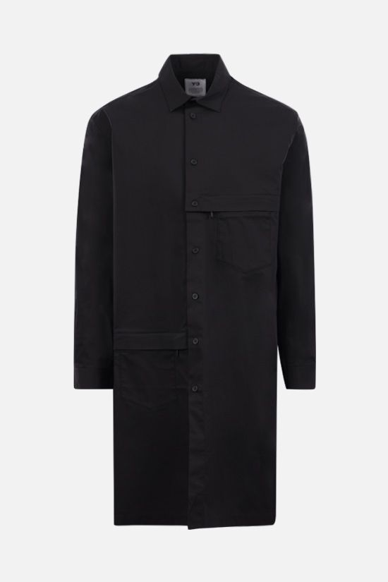 Y-3: Y-3 Classic Logo cotton blend long shirt Color Black_1