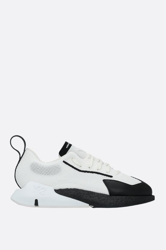 Y-3: Orisan mesh and grainy leather sneakers Color White_1