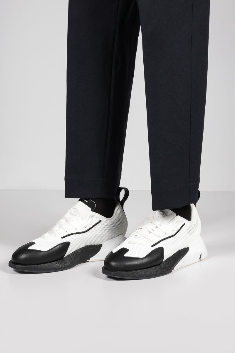 Y-3: Orisan mesh and grainy leather sneakers Color White_2
