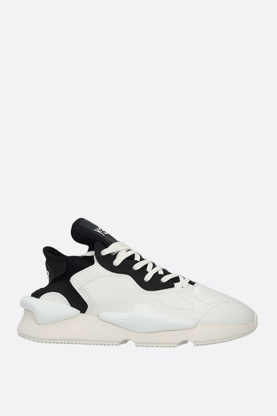 Y-3: Kaiwa grainy leather sneakers Color White_1